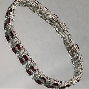 SILVER TONE FAUX DIAMOND RED SET BRACELET